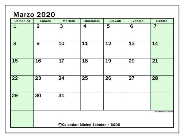 Calendario marzo 2020, 60DS. Calendario gratuito da stampare.