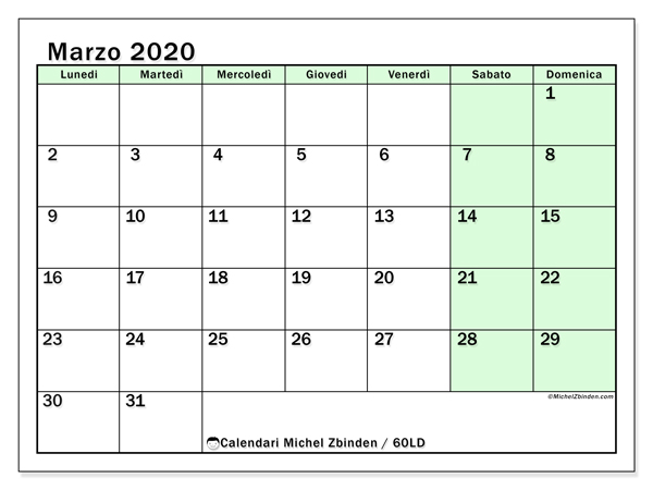 Calendario marzo 2020, 60LD. Calendario da stampare gratis.