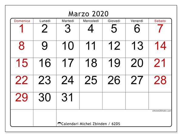 Calendario marzo 2020, 62DS. Orario da stampare gratis.