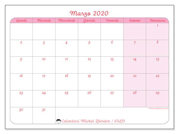 Calendario marzo 2020, 63LD. Calendario per il mese da stampare gratuitamente.