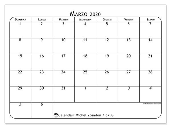 Calendario marzo 2020, 67DS. Calendario per la stampa gratis.