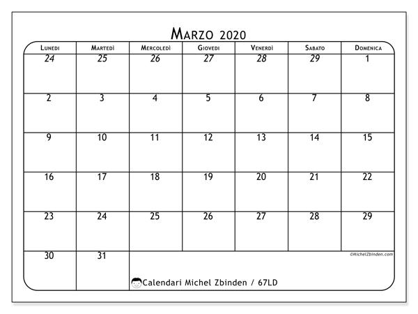 Calendario marzo 2020, 67LD. Calendario mensile da stampare gratuitamente.