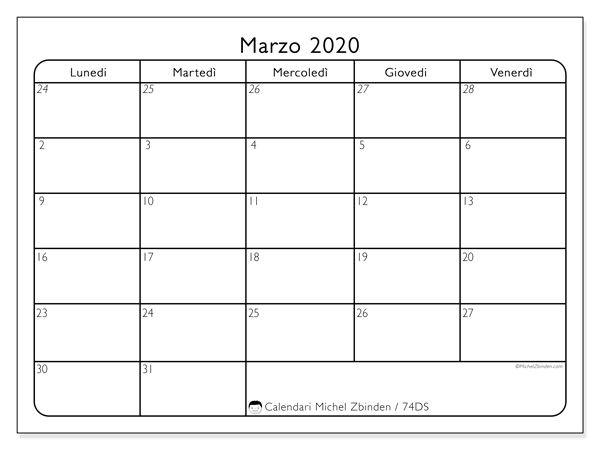 Calendario marzo 2020, 74DS. Calendario da stampare gratis.