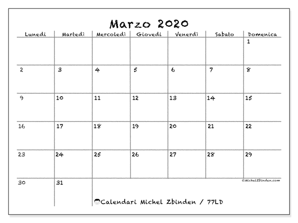 Calendario marzo 2020, 77LD. Orario da stampare gratis.