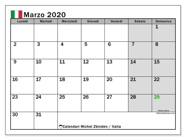 Calendario marzo 2020, con giorni festivi in Italia. Calendario da stampare gratuita con giorni festivi.