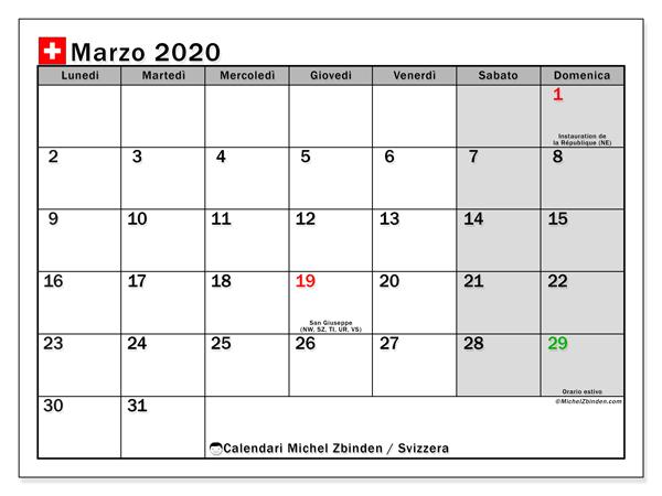 Calendario marzo 2020, con giorni festivi della Svizzera. Calendario Vacanze e festività per stampare gratuitamente.
