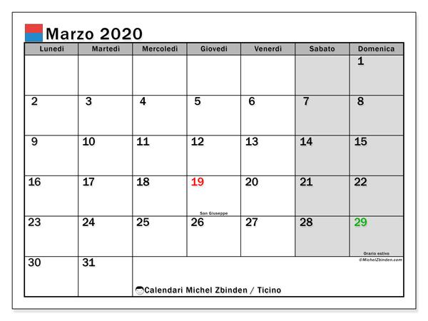 Calendari marzo 2020, con giorini festivi in Ticino. Calendario per la stampa gratis.