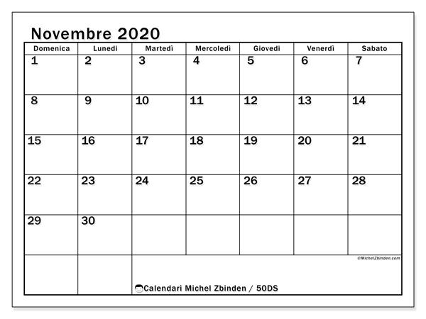 Calendario novembre 2020, 50DS. Orario da stampare gratis.