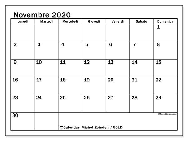 Calendario novembre 2020, 50LD. Calendario per il mese da stampare gratuitamente.