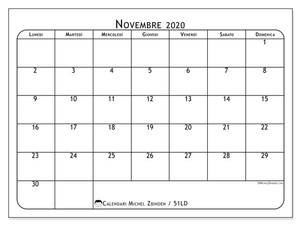 Calendario novembre 2020, 51LD. Calendario stampabile gratuito.