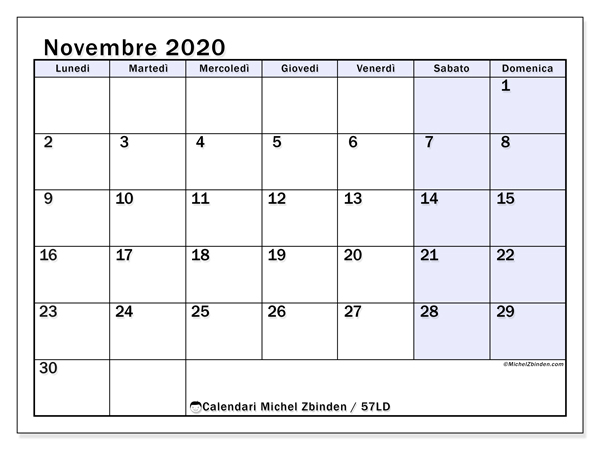 Calendario novembre 2020, 57LD. Calendario mensile da stampare gratuitamente.