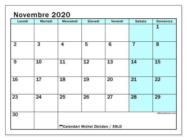 Calendario 2020 Novembre Da Stampare.Calendario Novembre 2020 59ld Michel Zbinden It