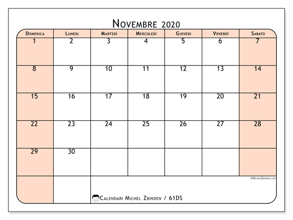 Calendario 2020 Novembre Da Stampare.Calendario Novembre 2020 61ds Michel Zbinden It