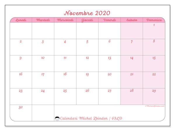 Calendario novembre 2020, 63LD. Calendario da stampare gratis.