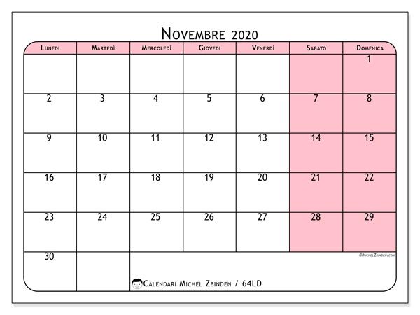 Calendario novembre 2020, 64LD. Orario da stampare gratis.