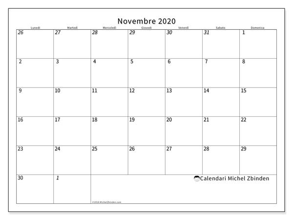 Calendario novembre 2020, 70LD. Calendario per la stampa gratis.