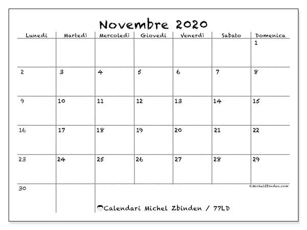 Calendario 2020 Novembre Da Stampare.Calendario Novembre 2020 77ld Michel Zbinden It