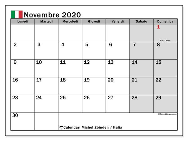 Calendari novembre 2020, con  in Italia. Calendario da stampare gratis.