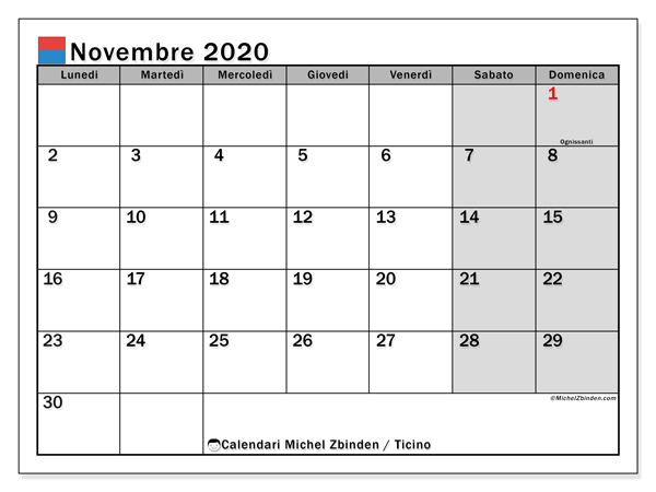 Calendario novembre 2020, con giorni festivi in Ticino. Calendario da stampare gratuita con giorni festivi.