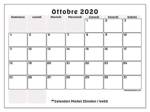Calendario ottobre 2020, 44DS. Calendario per la stampa gratis.