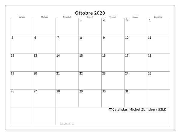 Calendario ottobre 2020, 53LD. Calendario per la stampa gratis.