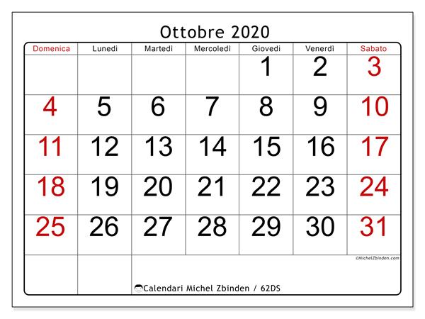 Calendario ottobre 2020, 62DS. Calendario stampabile gratuito.