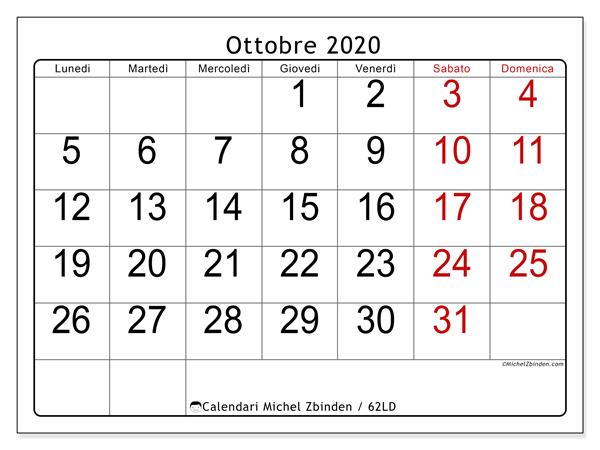 Calendario ottobre 2020, 62LD. Calendario gratuito da stampare.