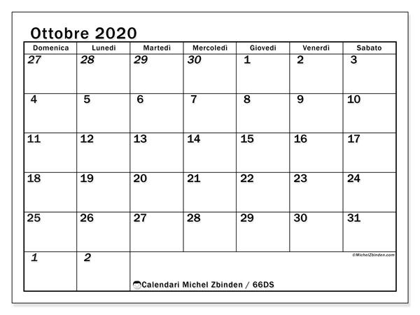 Calendario Mese Ottobre 2020.Calendario Ottobre 2020 66ds Michel Zbinden It