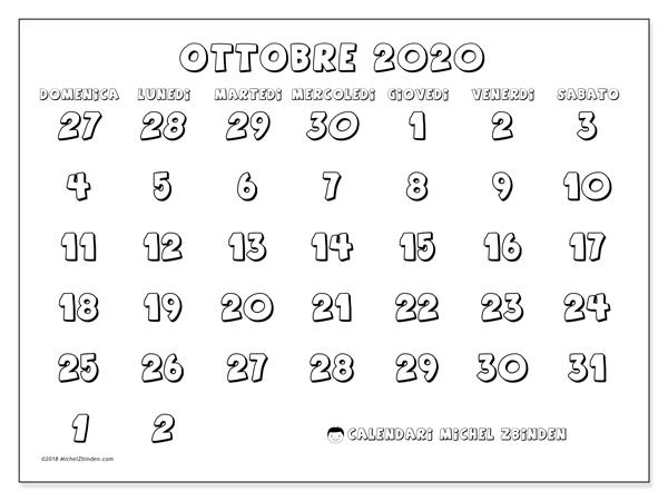 Calendario Mese Ottobre 2020.Calendario Ottobre 2020 71ds Michel Zbinden It