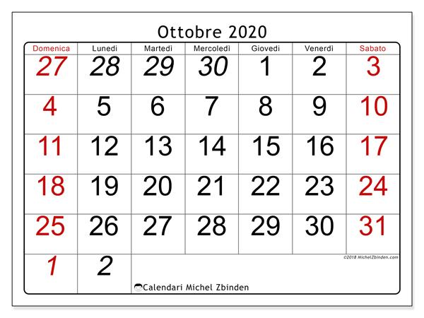 Calendario Mese Ottobre 2020.Calendario Ottobre 2020 72ds Michel Zbinden It