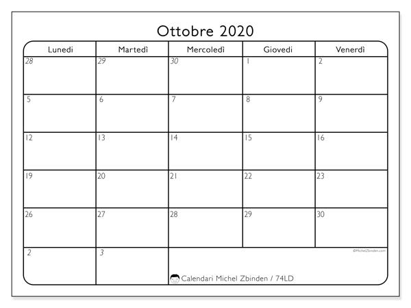 Calendario ottobre 2020, 74LD. Calendario mensile da stampare gratuitamente.