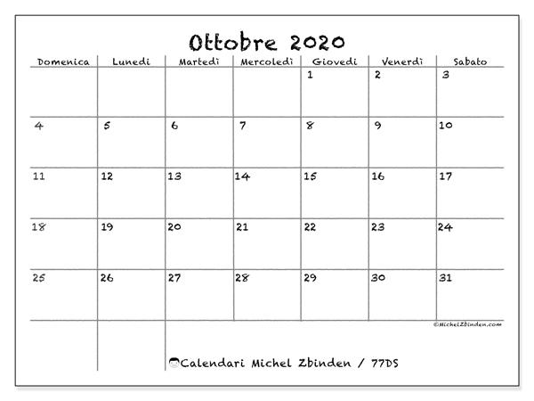 Calendario ottobre 2020, 77DS. Calendario da stampare gratis.