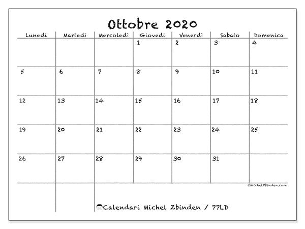 Sei Nazioni 2020 Calendario.Calendario 2020 Ottobre Calendario 2020