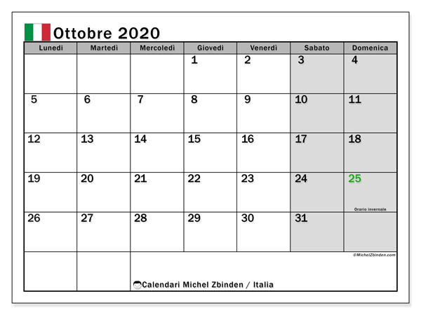 Calendari ottobre 2020, con  in Italia. Calendario gratuito da stampare.