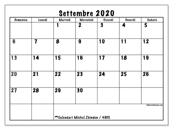 Calendario settembre 2020, 48DS. Calendario da stampare gratis.