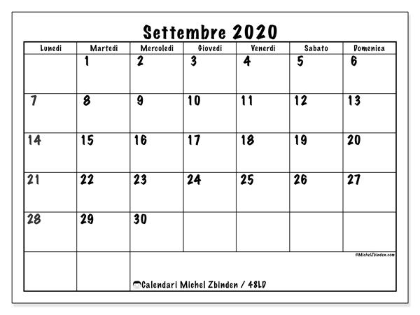 Calendario settembre 2020, 48LD. Calendario per il mese da stampare gratuitamente.