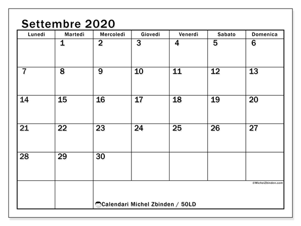 Calendario settembre 2020, 50LD. Calendario stampabile gratuito.