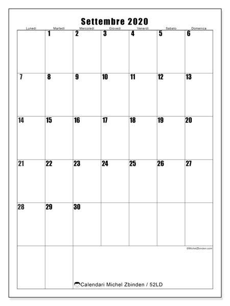 Calendario settembre 2020, 52LD. Orario da stampare gratis.