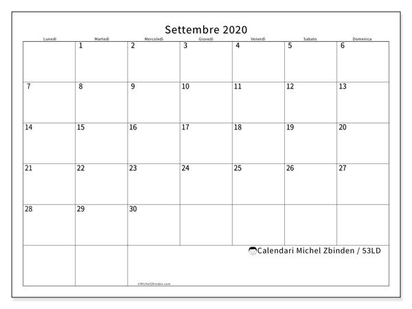 Calendario settembre 2020, 53LD. Calendario mensile da stampare gratuitamente.