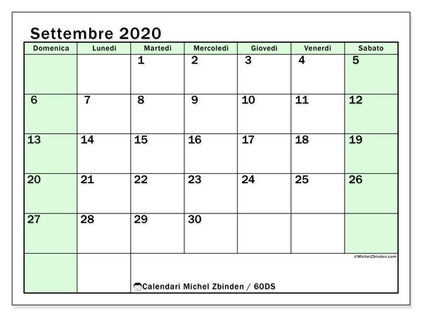 Calendario settembre 2020, 60DS. Calendario mensile da stampare gratuitamente.