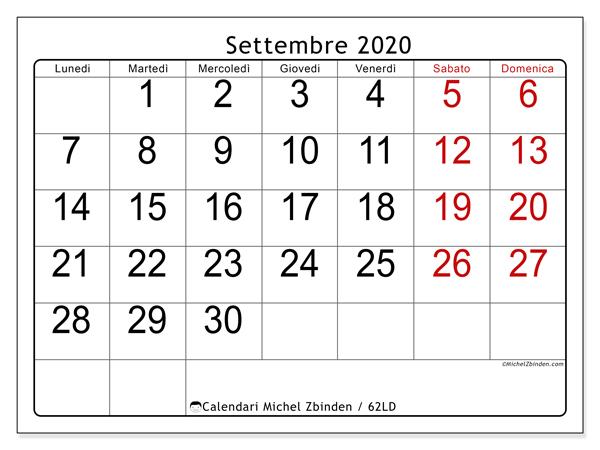 Calendario Settembre2020.Calendario Settembre 2020 62ld Michel Zbinden It