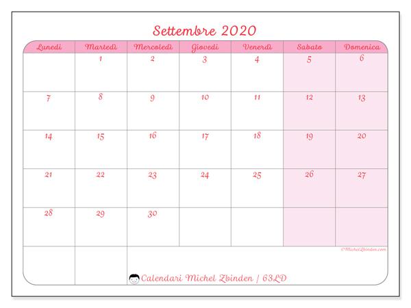 Calendario settembre 2020, 63LD. Calendario gratuito da stampare.