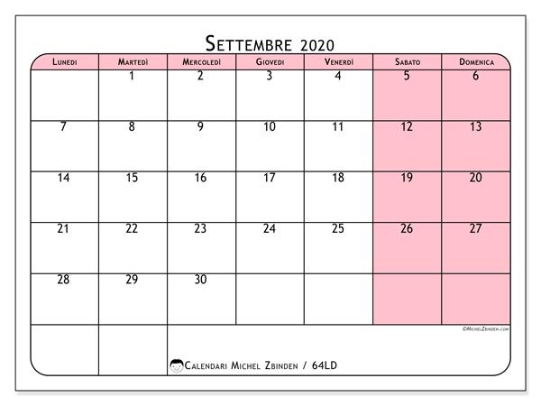 Calendario settembre 2020, 64LD. Orario da stampare gratis.