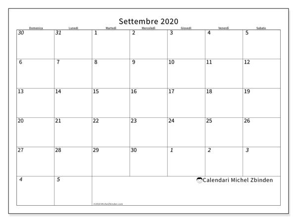 Calendario settembre 2020, 70DS. Calendario per il mese da stampare gratuitamente.