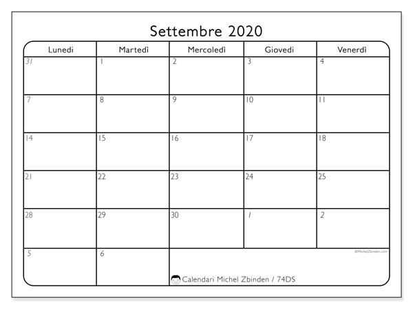 Calendario settembre 2020, 74DS. Calendario per la stampa gratis.