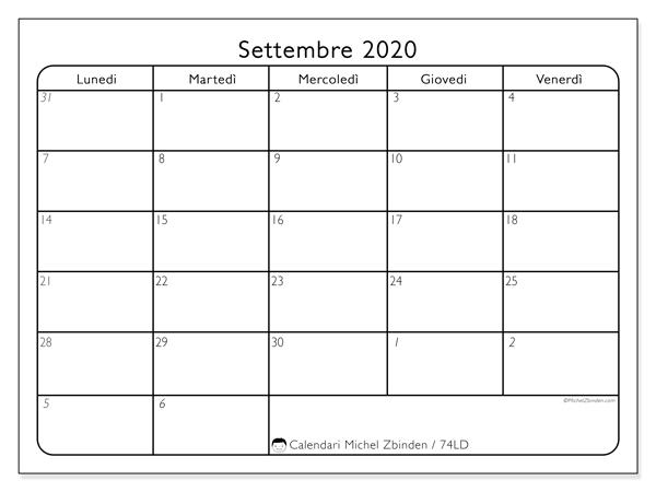 Calendario settembre 2020, 74LD. Calendario per il mese da stampare gratuitamente.