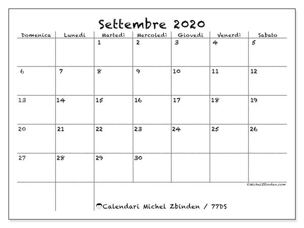Calendario settembre 2020, 77DS. Calendario mensile da stampare gratuitamente.