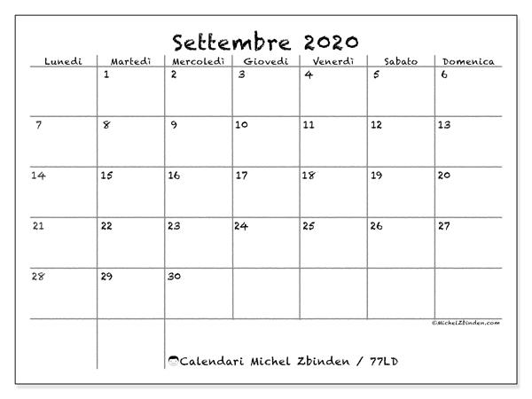 Calendario settembre 2020, 77LD. Calendario da stampare gratis.