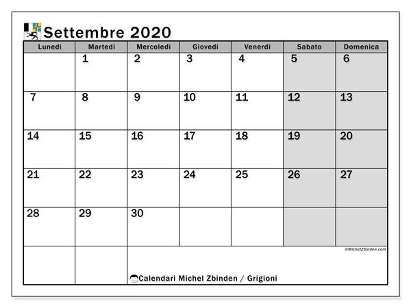 Calendari settembre 2020, con giorini festivi del Cantone dei Grigioni. Calendario stampabile gratuito.