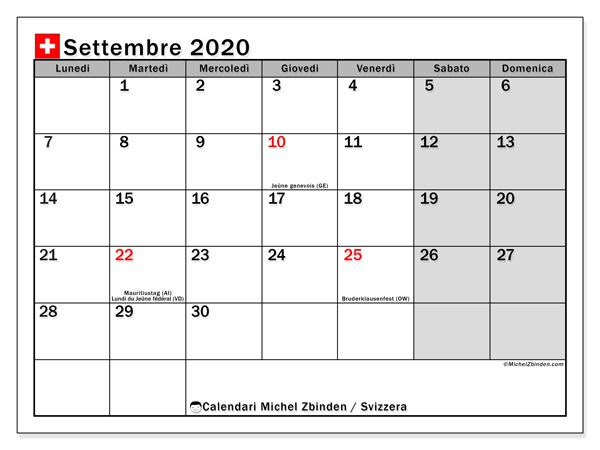 Calendario settembre 2020, con giorni festivi della Svizzera. Calendario Vacanze e festività per stampare gratuitamente.